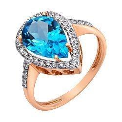 Кольцо в красном золоте Каролина с голубым топазом и фианитами 000032021