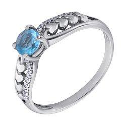 Серебряное кольцо Лила с голубым кварцем, цирконием и сердечками на шинке 000071187