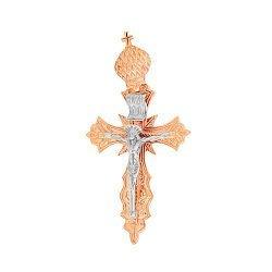 Золотой крестик в комбинированном цвете с узорной основой 000096626