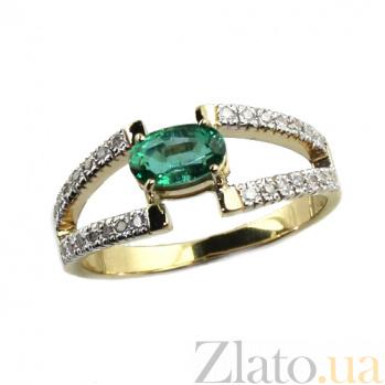 Золотое кольцо с изумрудом и бриллиантами Байс ZMX--RE-6696_K