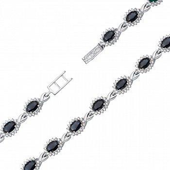 Срібний браслет із сапфірами та фіанітами 000134688