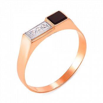 Золотой перстень-печатка в комбинированном цвете с черным ониксом и фианитами 000104115