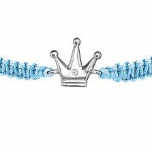 Браслет детский Корона большая, плетеный с cеребряным украшением и фианитом, 12х12см