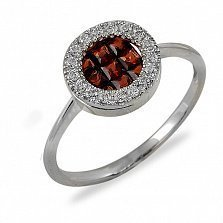 Кольцо Диво из белого золота с бриллиантами и гранатами