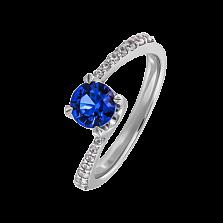 Золотое кольцо Diana с сапфиром и бриллиантами на асимметричной шинке