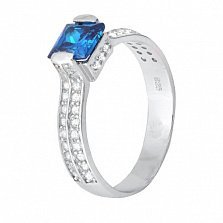 Серебряное кольцо с голубым цирконием Скай