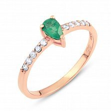 Золотое кольцо Фанни с изумрудом и фианитами