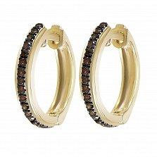 Серьги-колечки из желтого золота Марсела с коньячными бриллиантами