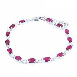 Серебряный браслет Кэролайн с рубинами и фианитами 000055950
