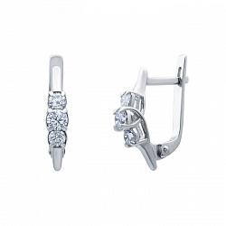 Серебряные серьги с цирконием Три желания