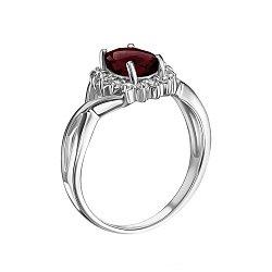 Серебряное кольцо с гранатом и фианитами 000117816