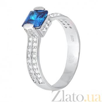 Серебряное кольцо с голубым цирконием Скай SLX--КК2ФЛТ/389