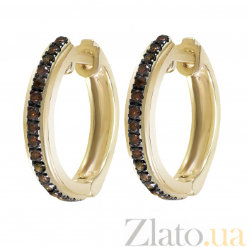 Серьги-колечки из желтого золота Марсела с коньячными бриллиантами 000096917