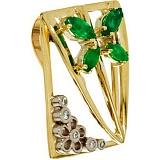 Золотой подвес Империя лета с изумрудами и бриллиантами