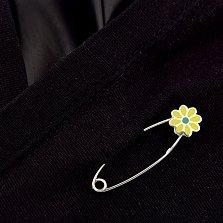 Серебряная булавка Цветочек с желтой эмалью