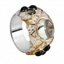 Серебряное кольцо с турмалином и цветным кварцем Астрея