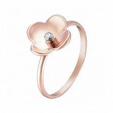 Кольцо в розовом и белом золоте Магнолия с фианитом