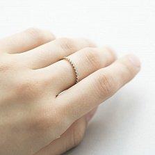 Золотое кольцо Тонкие линии в желтом цвете с дорожкой завальцованных фианитов
