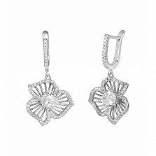 Серебряные серьги-подвески Горицвет с фианитами