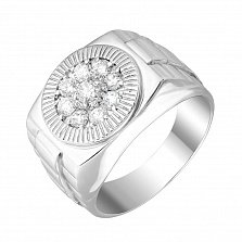 Серебряный перстень Роберт с фианитами в круге из насечки