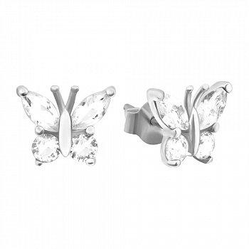 Пуссеты из серебра с фианитами 000039768