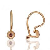 Золотые сережки Лучики с коньячными фианитами