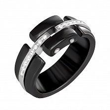 Керамическое кольцо с серебром и фианитами Дэлавер