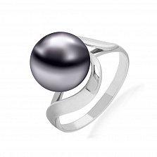 Серебряное кольцо Объятия ночи с черным жемчугом