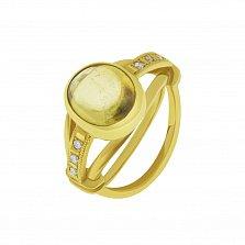 Золотой перстень Крепкие объятия с шампаневым турмалином и бриллиантами