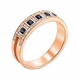 Золотое кольцо Пальмира в красном цвете с сапфирами и бриллиантами