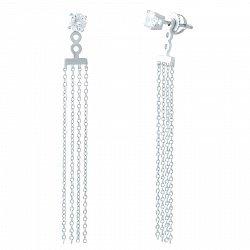 Серебряные серьги-подвески Жако с фианитами