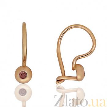 Золотые сережки Лучики с коньячными фианитами EDM--С0335К
