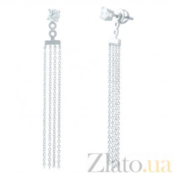 Серебряные серьги-подвески Жако с фианитами  000078077