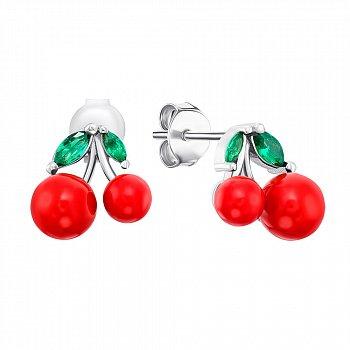 Серебряные серьги-пуссеты с эмалью и фианитами 000141146