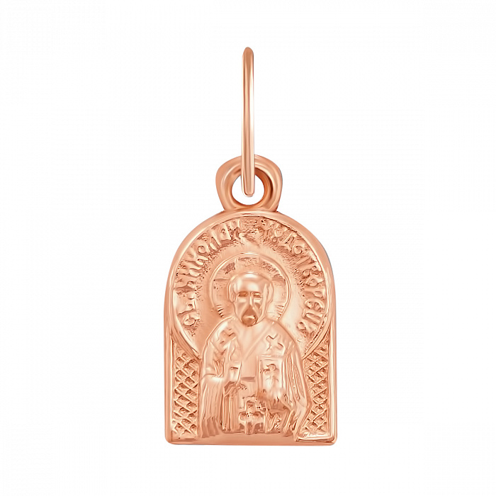 Золотая ладанка Святой Николай Чудотворец в красном цвете 000127160 000127160