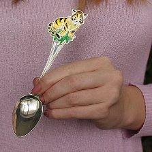 Серебряная чайная ложка Тигренок с эмалью