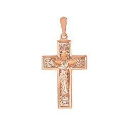 Золотой крестик Духовный мир в красном цвете 000119529
