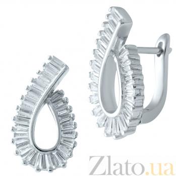 Серебряные серьги Киндж с фианитами 000077959