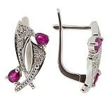Серебряные серьги Паулина с бриллиантами и рубинами