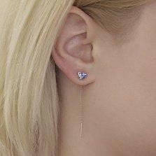 Серебряные серьги-протяжки Сердце с синей эмалью и фианитами