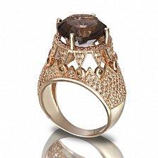 Золотое кольцо Гликерия с раухтопазом