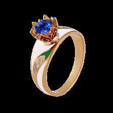 Золотое кольцо с эмалью, сапфиром и бриллиантами Беззаботное счастье