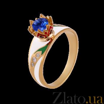Золотое кольцо с эмалью, сапфиром и бриллиантами Беззаботное счастье 000029379