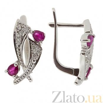 Серебряные серьги Паулина с бриллиантами и рубинами ZMX--EDR-6150-Ag_K