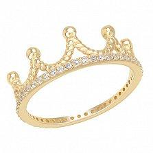Золотое кольцо с фианитами Корона в желтом цвете