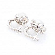 Серебряные серьги Эмелина с жемчугом и фианитами