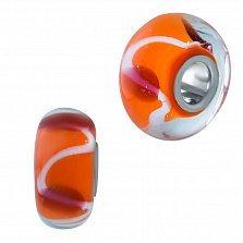 Серебряный шарм Фаина с оранжевым муранским стеклом