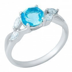Серебряное кольцо с синтезированным аквамарином, фианитами и родированием 000128884