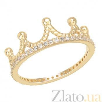 Золотое кольцо с фианитами Корона в желтом цвете 000032749