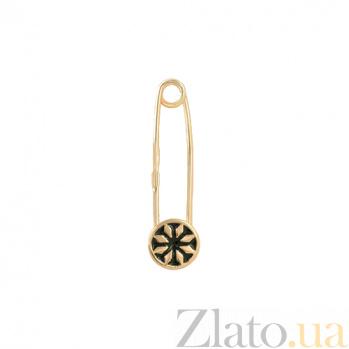 Золотая булавка с эмалью Алатырь звезда 2В766-0004